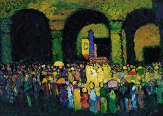 """Vasily Kandinsky - """"La Ludwigskirche en Munich"""" (1908, óleo sobre cartón, 67 x 96 cm, Museo Thyssen-Bornemisza, Madrid) Imperdonable que hasta ahora, después de 475 cuadros del día, todavía no me haya dignado a poner ninguno de Kandinsky, que es uno..."""