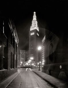 """Cleveland circa 1935. """"Night alley to Terminal Tower."""" Amazing shot from an 8x10 negative by the undeservedly obscure Theodor Horydczak."""