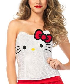 Hello Kitty Clothes for Women. Check out this Hello Kitty Sequin & Bow Bustier Costume - Women! Click now to buy! Hello Kitty Halloween Costume, Sexy Cat Costume, Kitten Costumes, Panda Costumes, Bunny Costume, Kawaii Halloween, Costume Halloween, Halloween Party, White Rabbit Costumes