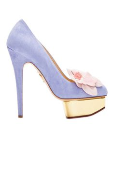 Charlotte Olympia Suede Floral Accented Dolly Pumps in Purple (lavender) shoes Charlotte Olympia, Shoe Boots, Shoes Heels, Pumps, Shoe Bag, Stilettos, Stiletto Heels, Lavender Shoes, Zanotti Heels
