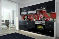 Küchenblock Scarlet 2,6m  Die hervorragende Trendküche Scarlet zu einem günstigen Preis!  Die hochwertige 16 mm MDF Hochglanz Front zeichnet die Küche aus und schenken dem Raum einen Charme. In eine Breite von 260 cm wurde sehr viel Stauraum eingebracht wodurch sich diese Küchenzeile sowohl für Singles als auch für Familien eignet.  Als Vorteil zählen auch die 18 mm Laminat Korpusse mit ABS Kanten und die 28 mm starke Arbeitsplatte. Scarlet, Kitchen Cabinets, Home Decor, Counter Top, Closet Storage, Kitchen Cupboards, Homemade Home Decor, Decoration Home, Kitchen Shelves