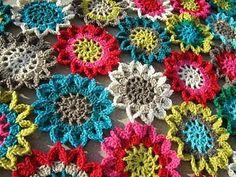 Crocheted flowers - lovely.