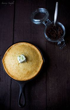Skillet Cornbread with Bacon Jam and Chive Butter - Savory Simple