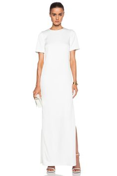 Crepe Satin Gown in White