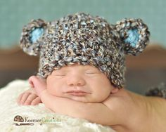 Newborn Baby Boy Hat in Brown Blue and Tan  Crochet by EcoStreet, $29.00