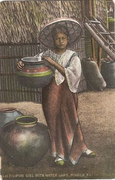 Philippine Postcard: Girl with water jars in Manila