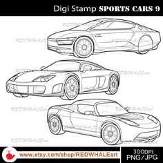 Sports Cars9/ Black & White /Digital Images/ Clipart Elements Set / 3 PNG/JPG / For Personal and Commercial use/ Clip Art/ Instant Download by REDWHALEart on Etsy