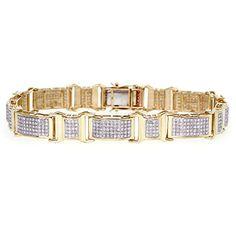 Diamond Men's Bracelet in 10k Yellow Gold (2.14 ctw) MyDiaLand http://www.amazon.com/dp/B00WT2UVXS/ref=cm_sw_r_pi_dp_HETQvb1ATWTDP