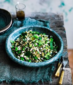 Recipe for farro with broad beans, ricotta salata, mint and lovage by Danielle Alvarez.