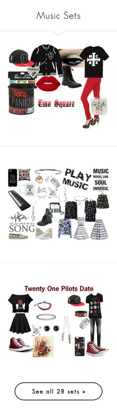 """Music Sets"" by frosie889 ❤ liked on Polyvore featuring Hot Topic, Yamaha, TOMS, Music Notes, Casetify, Yves Saint Laurent, Bling Jewelry, Allurez, Thumbprintz and Jeremy Scott"