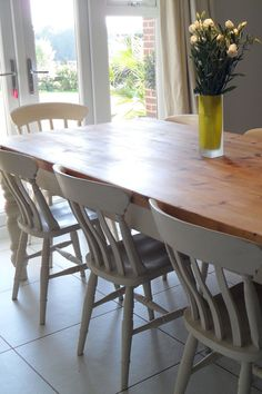 Interior, Upcycled And Shabby Chic Furniture With White Painted Finish Furniture: Shabby Chic Dining Table