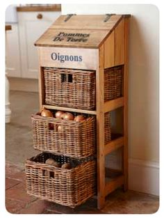 I love this idea!!  vegetable, potato, onion storage using wicker drawers