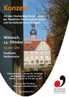 Diese Woche zu Besuch in der Musikakademie Schloss Weikersheim: Das Hochschulsinfonieorchester Stuttgart. Mit einem tollen Konzert am Mittwochabend 24.10 um 19:00 Uhr.