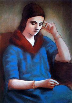 1923 Picasso Porrait d'Olga, Olga pensive, Porrait of Olga, pensive Olga Dessin Pastel et crayon sur papier 104x71 cm. #Cubismo #Art #XXs @deFharo