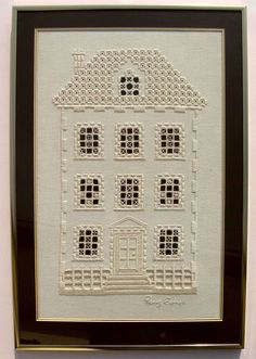 """Hardanger house. This concept would be fun to do with each window having a small photo of ancestors... and the house being a BIT larger so you could have a sort of """"family tree' in the form of a house. Hmmm I will have to think on this some more."""
