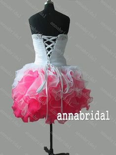 Multicolor Short Prom Dresses Sweetheart Organza by Annabridal