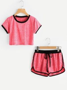 Shop Slub Ringer Crop Tee With Drawstring Shorts at ROMWE, discover more fashion styles online. Pajama Outfits, Lazy Outfits, Sporty Outfits, Teen Fashion Outfits, Outfits For Teens, Girl Fashion, Summer Outfits, Girl Outfits, Cute Sleepwear