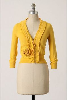 Mustard cardigan. Wear with turquoise jewelry, jeans and brown boots. Also need a long ruffled brown/earth-tone shirt/tunic to go under cardigan.