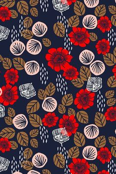 Colorful fabrics digitally printed by Spoonflower - Butterfly Garden - Cardinal Red/Pale Pink/Imperial Blue/Wood Brown/White by Andrea Lauren Add a pop of pattern with unique fabric, wallpaper & gift wrap. Shop over designs Boho Pattern, Flower Pattern Design, Design Floral, Motif Floral, Red Pattern, Arte Floral, Surface Pattern Design, Pattern Paper, Flower Patterns