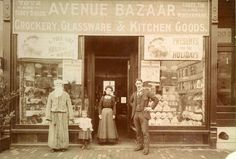 Maurice and Frances Milontaler outside of their Brockton, Massachusetts store, Avenue Bazaar. Undated photograph, early 20th century.