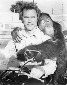 Clint Eastwood and Clyde on the set of Every which way but loose.
