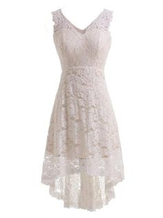 Find More Wedding Dresses Information about Simple A line V neck Sleeveless High low Zipper up Lace Wedding Dress Tea Length Cheap Bridal Gown Beach Plus Size,High Quality dress pullover,China dress from Suppliers, Cheap dress up wedding gowns from Ayaya Dress Shop on Aliexpress.com