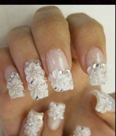 3D white flower nails