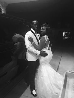 Demario and Charnae Looking awesome in black & white! Formal Wear, Mermaid Wedding, Real Weddings, The Selection, Black And White, Wedding Dresses, Awesome, Fashion, Black White