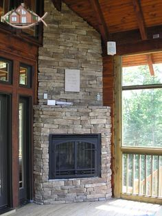 Fireplaces on pinterest gas fireplaces wood burning for Gas fireplace screened porch