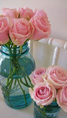 Fresh cut roses in Mason jars