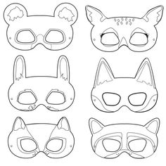 Woodland Forest Animals Coloring Masks, woodland animal mask, bear mask, fox mask, raccoon mask, bunny mask, chipmunk mask, deer mask