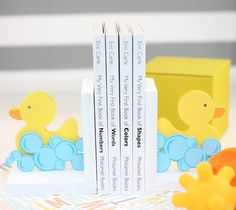 Rubber Ducky Book Ends by Damask Love. Make It Now with the Cricut Explore machine and Print then Cut feature in Cricut Design Space.