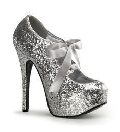 Silver Glitter Bordello Platform Shoes- potentially too much/ dangerous to walk in?!!