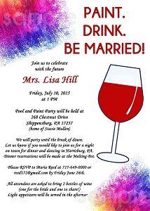 Paint Wine Party Invitation Painting Party Bachelorette Paint