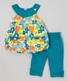 Take+a+look+at+the+G&J+Relations+Teal+Floral+Bubble+Top+&+Capri+Pants+-+Infant,+Toddler+&+Girls+on+#zulily+today!