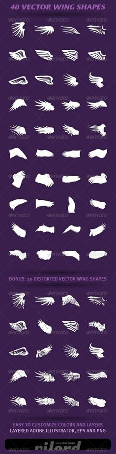 40 Wing Shapes Vol.2 - http://graphicriver.net/item/40-wing-shapes-vol2/2354737?ref=cruzine: