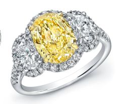 #Oneofakind #NormanSilverman #ring with a 2.13 carat natural fancy light yellow oval cut GIA #diamond in platinum and 18-karat yellow gold