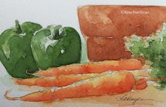 Original+Watercolor+Painting+Vegetable+Still+Life+by+RoseAnnHayes