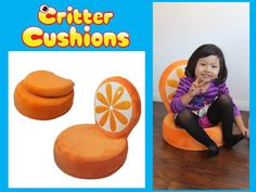 Critter Cushion - Orange Chair - Toddler Chair Adorable - Comfortable - Huggable - Portable #toddlerchair #kidsfurniture #orange #kidsgift #playroom