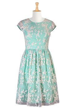 Floral Embellished Organza Dresses, Aqua Bridesmaids Dresses Shop Women's Designer Dresses, Silk Dresses, Black Dresses, Women's Special Occasion Dresses | eShakti