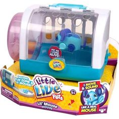 little live mouse house with blue or purple mouse