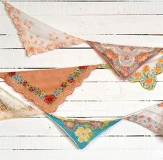 Wedding Garland - Vintage Hankie Bunting - Party Decoration - Nursery Bunting - Yellow, Orange, Turquoise Colors Add a sweet and romantic touch to Party Decoration, Altar Decorations, Handkerchief Crafts, Bunting Garland, Bunting Ideas, Garland Nursery, Fabric Garland, Fabric Bunting, Nursery Decor