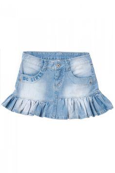 saia jeans com babados infantil - Pesquisa Google