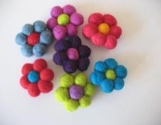 Felt Ball Flower Brooches~ so simple and gorgeous