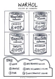 Andy Warhol Soup Can Colour by Numbers - Feeding Stick Figures Brilliant end of lesson activity that students can quietly work on. My Primary school students loved this activity sheet when learning about Andy Warhol an. Andy Warhol Soup Cans, Andy Warhol Pop Art, Art Sub Plans, Art Lesson Plans, Pop Art Drawing, Art Drawings, Pop Art Artists, Famous Artists, Art Handouts