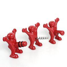 Unigear Wein Stopper und Flaschenöffner Set, drei niedlichen rot Herren Neuheit Flaschenöffner, Korkenzieher und Stopper, perfekt Gag Geschenke Kollektion (Rot)