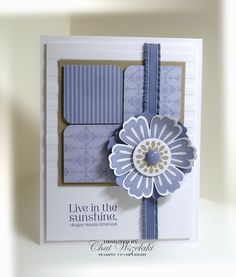 handmade card ... white with shades of lavender ... like the design ... stamped and punched flower from Mixed Bunch ... like it! ... Stampin' Up!