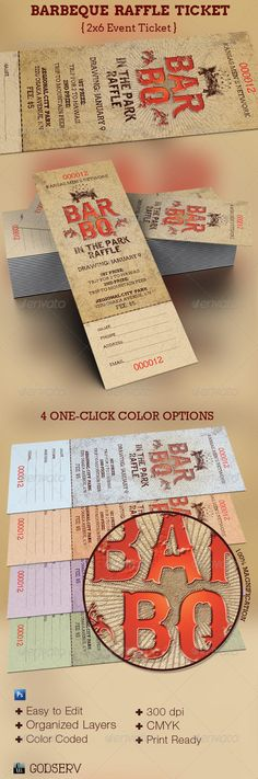 BarBeQue Raffle Ticket Template - Miscellaneous Print Templates