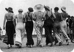 "Racy back-baring 1930s beach pyjamas, found at ""Curves, Patterns and Pins"""