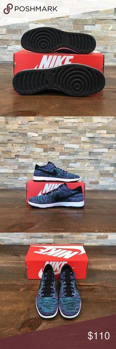 cf0ba7e2fa828 Nike Dunk Low Flyknit 917746-005 Men s New Nike Dunk Low Flyknit Black  Chlorine Blue